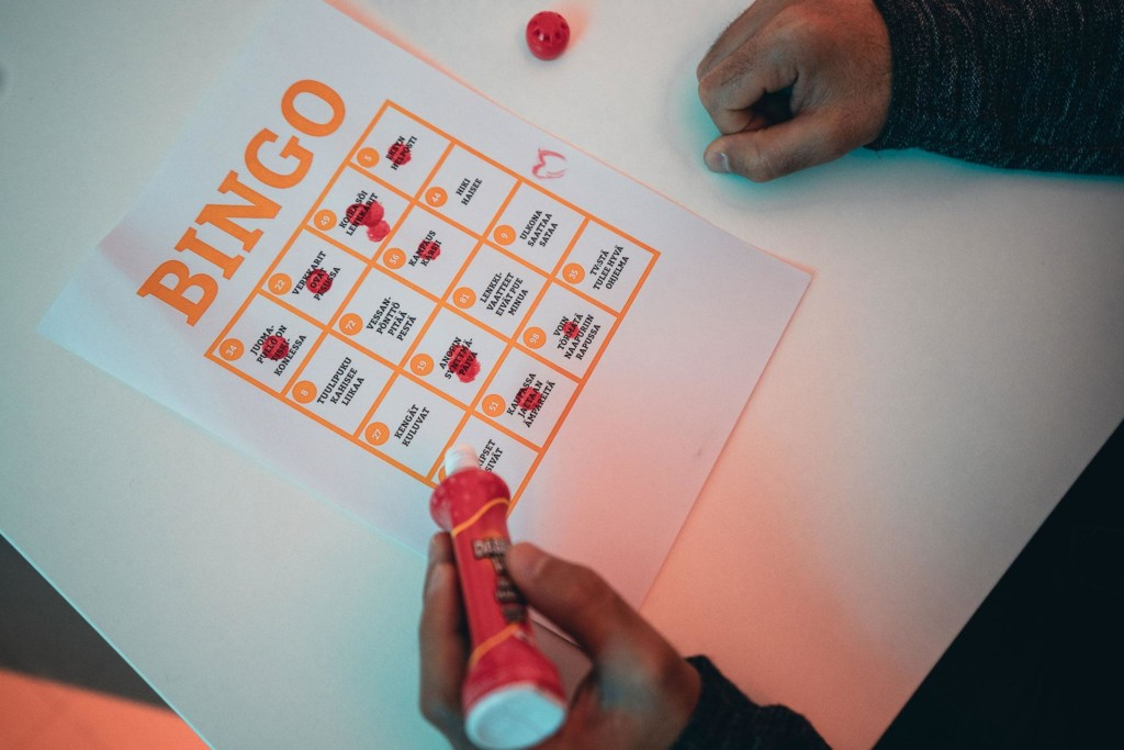 Bingo kuponki, jossa numeroiden tilalla tekosyitä